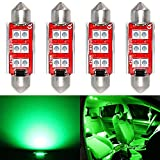Phinlion Super Bright 212-2 LED Bulb 3030 6-SMD Festoon 41mm 42mm 211-2 578 Bulbs for Car Interior Map Dome Trunk Courtesy Light, Green (4 Pack)