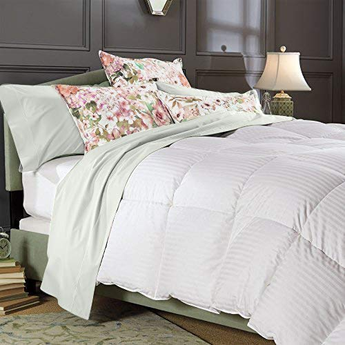 Best Bedding 600 Thread Count Oversize Super King Size Alternative 5 Piece Comforter Set with 100% Natural Egyptian Cotton Stripe Cover - White