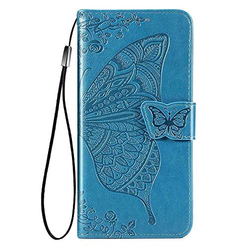 WEIOU para Sony Xperia 1 III Funda, Flip Mariposas Carcasa Magnética con Soporte y Cartera para Tarjetas, Premium PU/TPU Cuero Case Cover Billetera. Azul