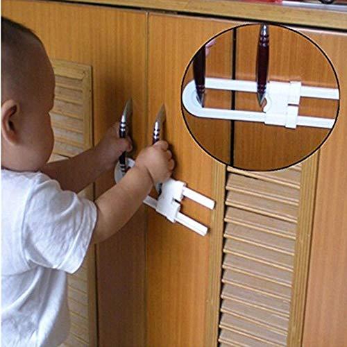 Phy 5pc Baby - Cerradura de Seguridad para cajones, Puerta de Armario, Cerradura de Seguridad para niños, Cerradura de protección Infantil, Forma de U