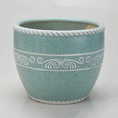 Decbde Ceramic Large Flower Pot Chinese Style Drum-Shaped Ceramic Planter Pots Succulent Plant Pot Adorably Glazed Ceramic Bonsai Pot for Indoor Outdoor House Office Ornament