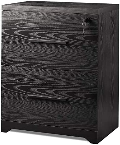 DEVAISE 2 Drawer Wood Lateral File Cabinet with Lock for Office Home Black product image