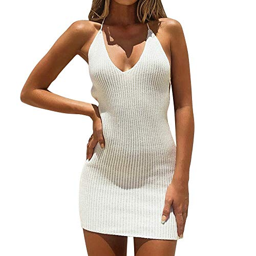 Women's Strap Backless Mini Dress Ladies Casual Party Sexy Bodycon Dresses Sexy Clubwear (White, M)