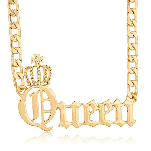 JOTW Goldtone 'Crown The Queen' Pendant with an 15 Inch Chain Necklace (B-2789)