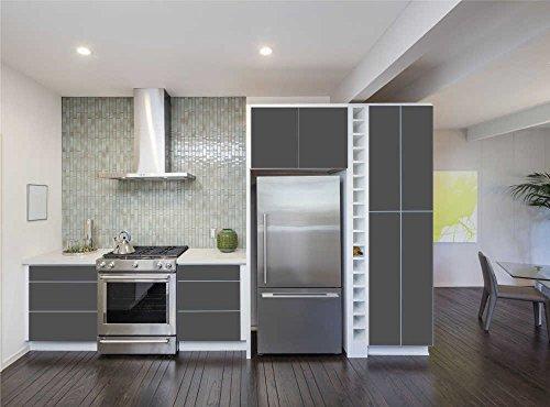 INDIGOS UG - Aufkleber für Küchenschränke 63x500cm - MATT - Folie aus hochwertigem PVC Tapeten Küche Klebefolie Möbel wasserfest für Schränke selbstklebende Folie Küchenfolie Dekofolie - Dunkelgrau
