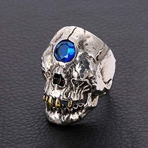 WTZWY Vintage Männer Edelstahl Gothic Diamant-Schädel-Ring, Punk Gothic Schädel-Kopf-Böse-Ring, Halloween Valentinstag, Blau,8