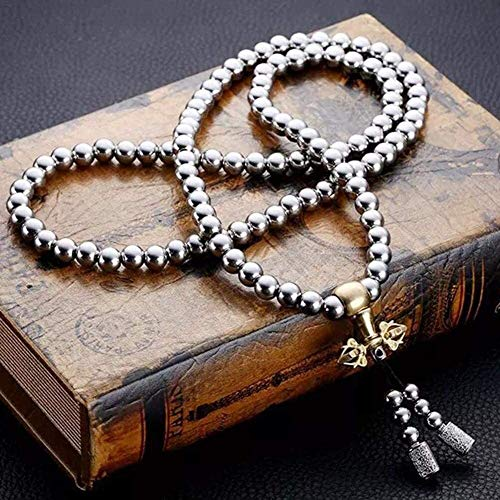 Necklaces for Men, 108 Stainless Steel Buddha Beads Necklace Chain, Outdoor Self Defense Chain Full Steel Martial Arts Weapon (Color : A)