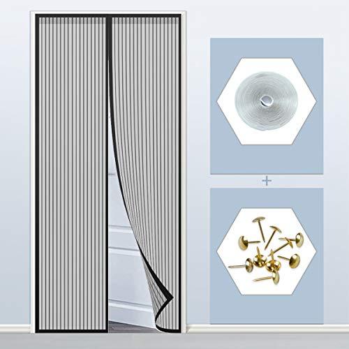 Mosquitera Puertas 150x200cm(59x79inch) Sin Huecos Pasar El Aire Permite Entrada Aire Fresco para Balcón Puerta Corredera de Patio, Negro