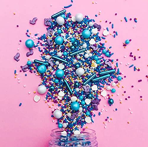 Streusel Ocean Girl Meerjungfrau Mix 90g weiss flieder blau von STREUSEL GLÜCK bunte Sprinkles Zuckerstreusel perfekt für Kindergeburtstag Geburtstag Mermaid Mädchen Cupcakes Muffins