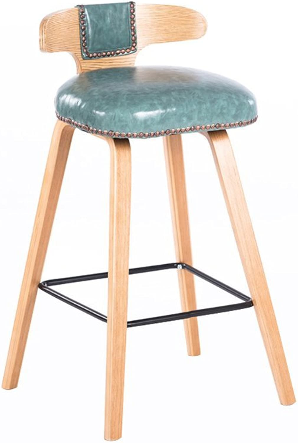 Bar stool - Nordic Style Solid Wood bar Chair Rivet Fashion Cafe Chair Three colors (color   B)