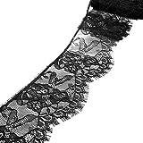 Surenhap Rollo de Encaje Rollo de Tira de Encaje Bordado para el Arte de Costura Banquete de Boda Decoración de Navidad Diadema Scrapbooking Caja de Regalo, 27CM - Negro