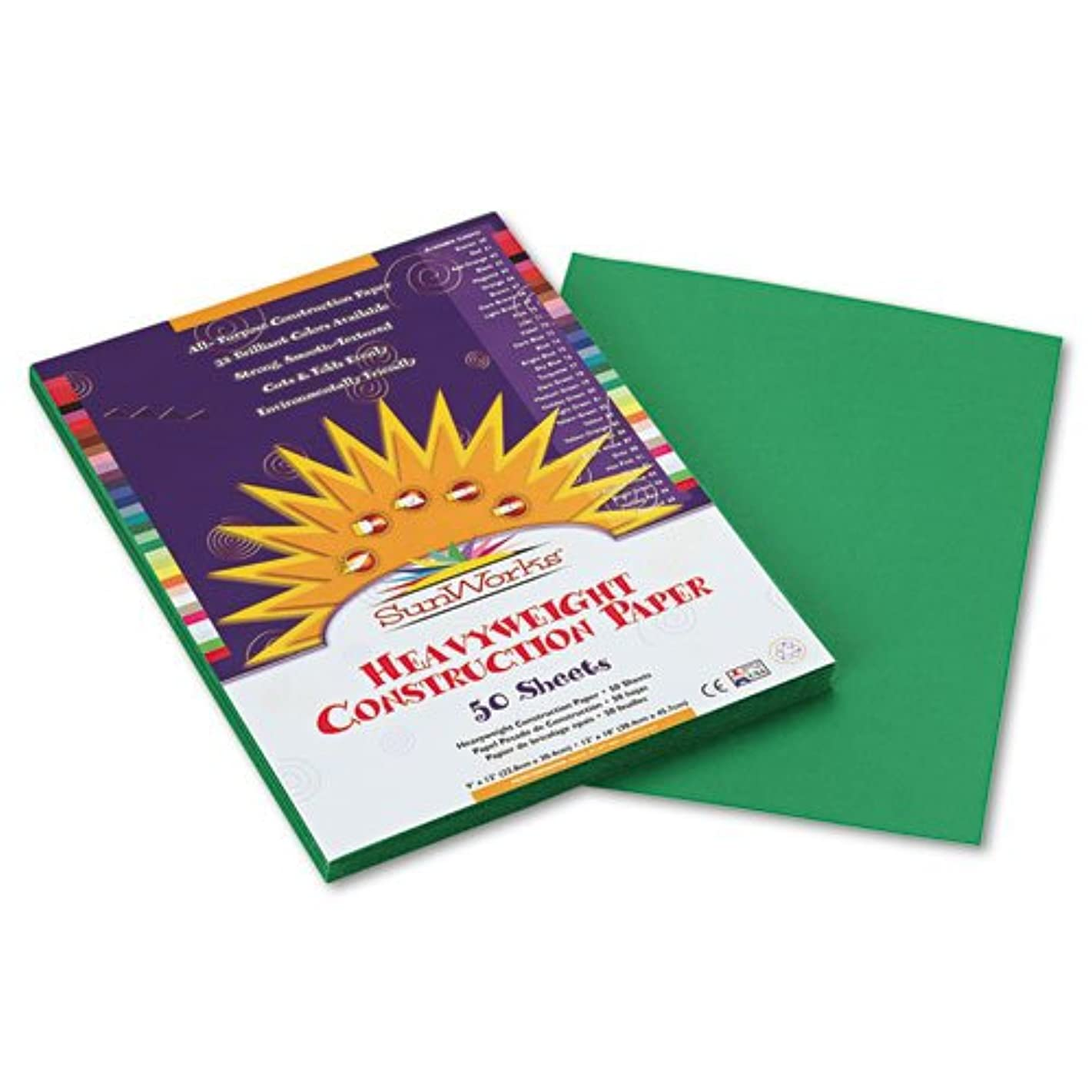 SunWorks 8003 Construction Paper, 58 lbs, 9 x 12, Holiday Green, 50 Sheets/Pack
