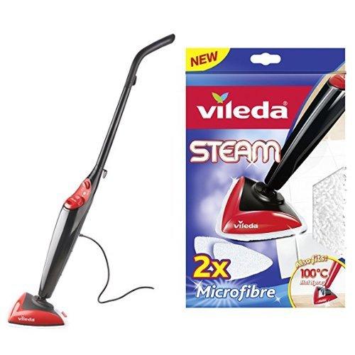 Vileda Steam - Mopa de limpieza a vapor (depósito de 0.4 L, gamuza de microfibras, accesorio alfombras) + Vileda Recambio 100º Steam - Gamuzas de microfibras para Vileda 100º y Steam