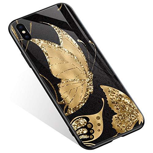 Juicy Case/Schutzhülle für LG G4, mit magnetischer Auto-Halterung, Klapp-Cover, magnetische Brieftasche, Smart View, unterstützt NFC, Freisprechfunktion, iPhone XR, Golden Butterfly