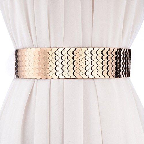SAIBANGZI Modischer Taillengürtel für Damen, breiter Taillengürtel, Metallic, 70 cm