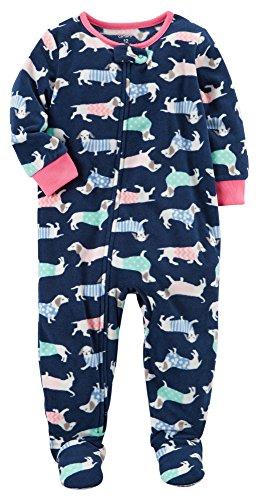 Carter's Girls' 1-Piece Footed Sleeper Fleece Pajamas (Blue Dogs, 6 Months)