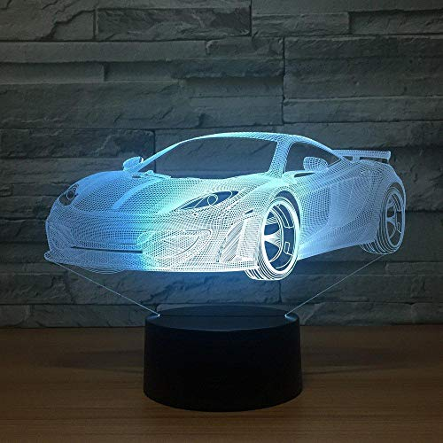 Cool Car Acrílico Lámpara de holograma 3D 7 Cambio de color Luz nocturna Interruptor táctil para bebés Luces de colores Lámpara de escritorio USB LED
