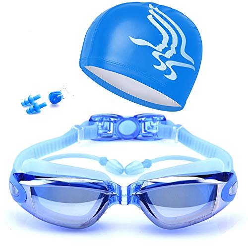 HWKLY Swim Goggles on Amazon - Best Swimming Goggles Swim Cap Set Non Leaking - Adjustable for Men Women Youth Kids - UV Protection Anti Shatter Clear Vision Anti Fog Lenses