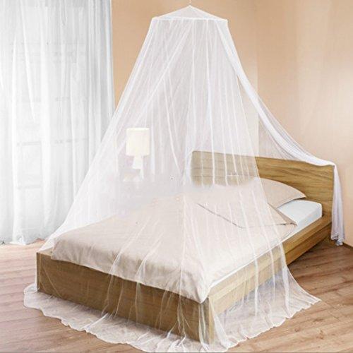 Tente de moustiquaire Ronde pour Single to King Size moustiquaire de lit moustiquaire par Installation Facile pour intérieur Ultra Fine Protection de Maille extérieure Aucun Produit Chimique Blanc