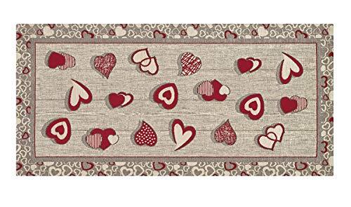 HomeLife Tappeto Cucina Antiscivolo 55X240 Made in Italy | Passatoia Moderna Colorata Stile Shabby Chic a Cuori | Tappeto Runner Lungo Lavabile [55X240, Rosso]