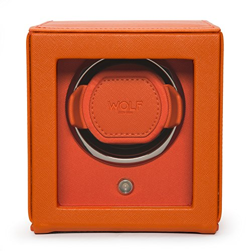 WOLF Unisex 461139 Wolf Cub Single Orange Analog Display Watch Winder with Cover