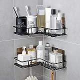 Mensola Doccia, GuKKK Angolare Mensola da Doccia Organizzatore Senza Chiodi, Bagno Mensole da Muro Senza Foratura, Mensola Angolare per Bagno e Cucina 2 Pezzi (Nero)