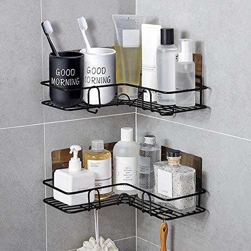 ZWOOS Duschregal Eckablage, Selbstklebender Duschkorb, Ohne Bohren, Edelstahl Bad Duschkorb für die Küche u Badezimmer, 2 Stück Schwarz