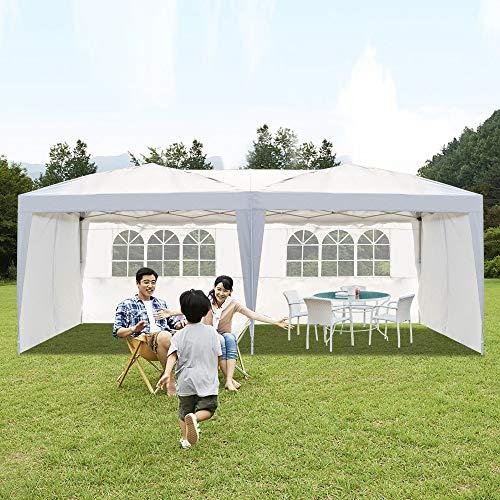 VINGLI 10X20 Feet Pop Up Canopy,Instant Tent,4 Removable Sidewalls,Folding EZ Up Canopy Tent,Patio Event Gazebo Beach Tent,UV Coated&Waterproof, Bonus Wheeled Carry Bag