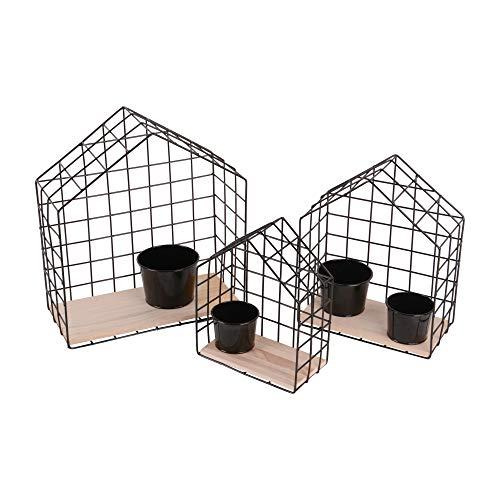 RM Design 3er Set Wandregal Metallgitter Haus zum Aufhängen mit 4 Töpfen Blumenregal Innenbereiche Außenbereiche Schwarz