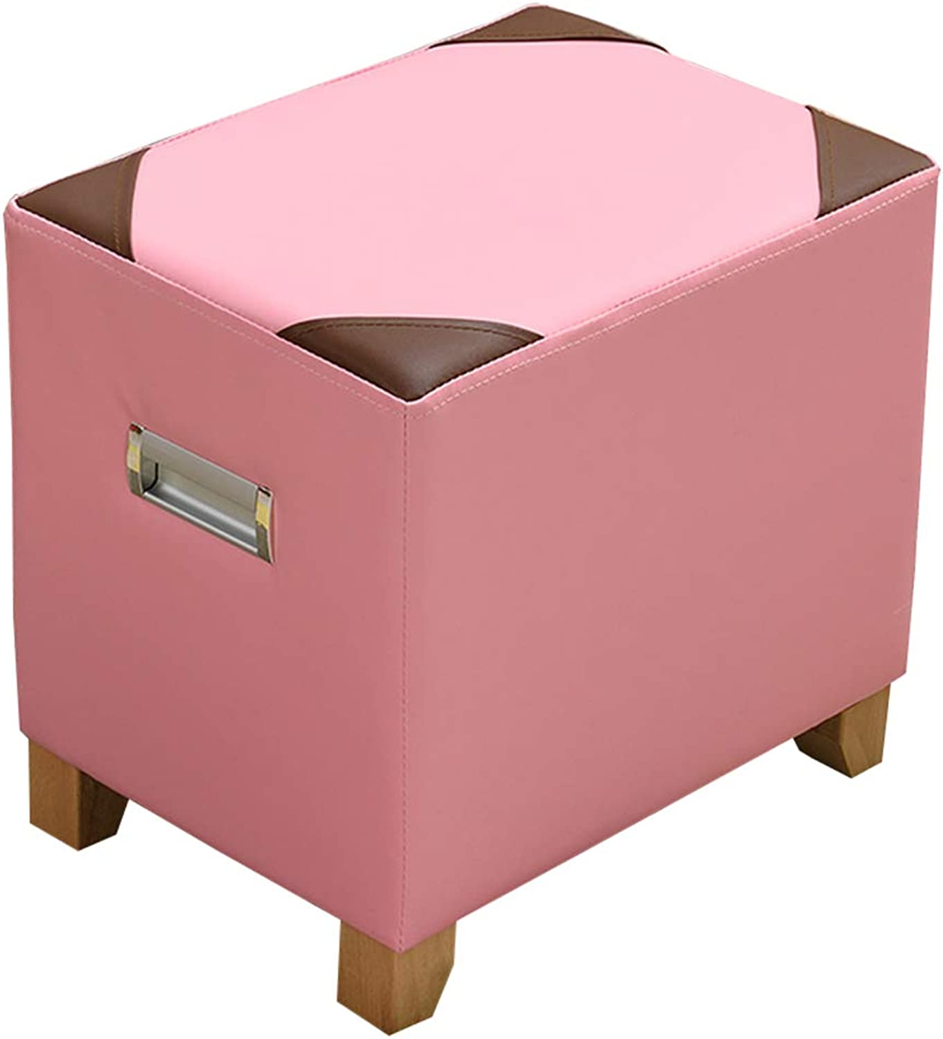Stool Creative Fashion Sofa Stool Thick Solid Wood Square Short Dunzi Home Living Room Change shoes Bench WEIYV (color   Pink, Size   40  30  40cm)