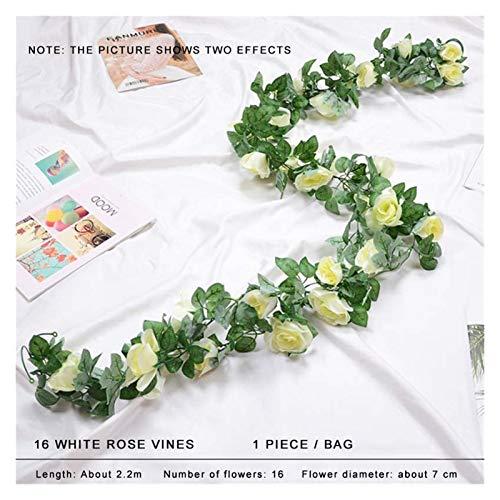 WANGJBH Trockenblumen 2.2m Seide künstliche Rosen Blumen Rattan Stringrebe mit grünen Blättern für Haushochzeit Gartendekoration Künstliche Blume (Color : 2.2m White)