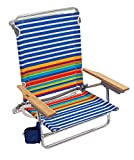Rio Brands Beach Classic 5 Position Lay Flat Folding Beach Chair - Surf Power Blue/White Stripe, 8.5'