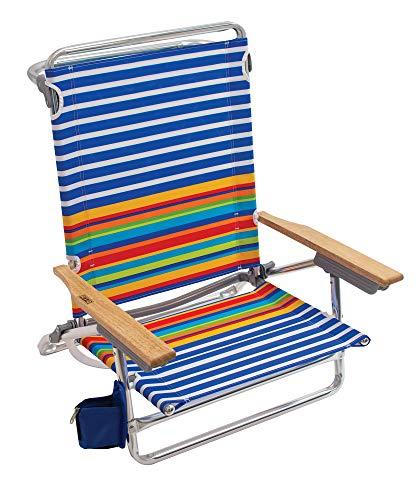 Rio Brands Beach Classic 5 Position Lay Flat Folding Beach Chair - Surf Power Blue White Stripe, 8.5
