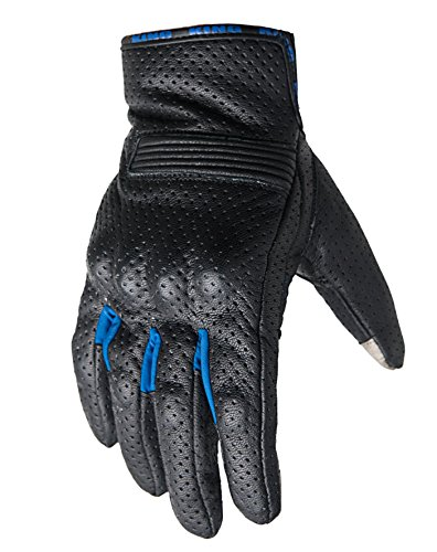 Motorcycle Biker Gloves Black Premium Leather   Padded All Weather Feature for Men and Women   Breathable Moisture Wick Air Flow Technology Between Fingers   SWIFT (Blue-Sm)