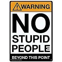 警告:この点を超えて愚かな人はいない、金属錫のサイン-20x30cm
