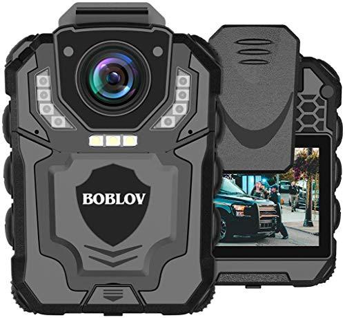 BOBLOV Cámara de Cuerpo para Policía, 1269P HD Cámara Portátil para Aplicación de la ley con Grabación de Audio y Visión Nocturna Infrarrojos, Memoria Expandida Admitida Máx. 128G