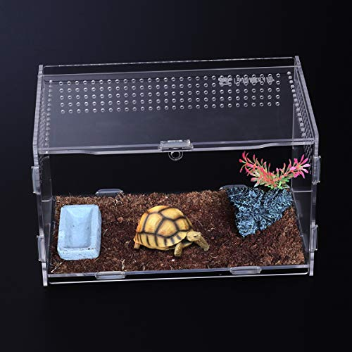 POPETPOP Caja de cría de Reptiles Contenedores de terrario acrílico-Hábitat de terrarios de Reptiles portátil para Mini Casas para Mascotas
