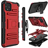 Google Pixel 4 Case, Yunerz Heavy Duty Shockproof Full-Body Protective Hybrid Case Cover with Swivel Belt Clip and Kickstand for Google Pixel 4 (red)