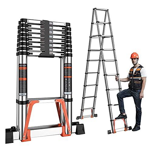 MAG.AL Telescópico Escalera Aluminio Plegable Escalera Telescópico Escalera con estabilizador Bar por Techo de la casa RV Exterior Ocupaciones, Carga 150kg / 330 Libras,3.8m/12.5ft