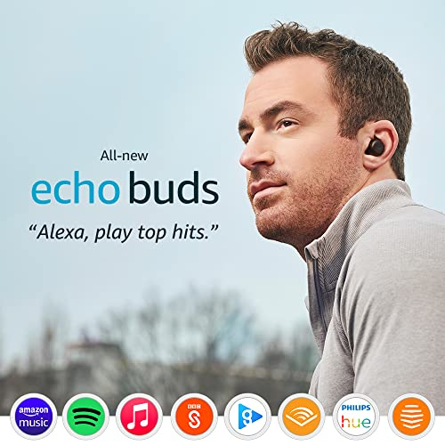 All-new Echo Buds (2nd generation)   Wireless earbuds with active noise cancellation and Alexa   Black