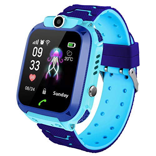 Smart Watch for Kids GPS/LBS Tracker Phone, IP67 Waterproof Smartwatch Phone SOS Alarm Clock Camera Touch Screen Voice Chat Games Smartwatch for 3-12 Year Old Boys Girls Birthday Gift (S12-Blue)