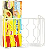 SimpleHouseware Wall Door Mount Kitchen Wrap Organizer Rack, White...