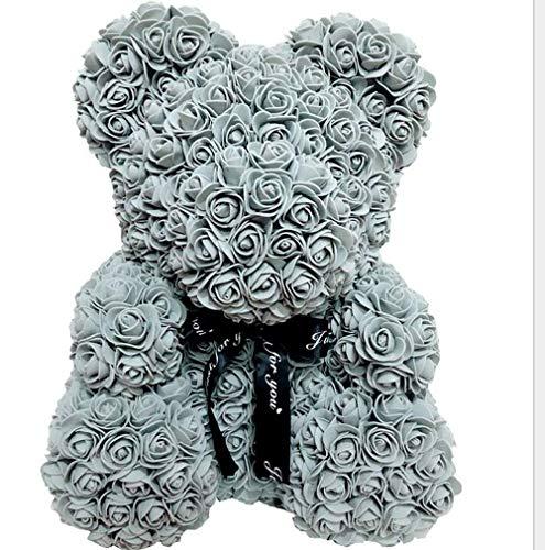 MINASAN Rose Bär Spielzeug, Roter Rosen Bärn Blumen Teddy Bär Geformt Künstliche Blumen Puppen für Valentinstag Hochzeit Geburtstag Geburtstagsgeschenke (Grau, 25cm)