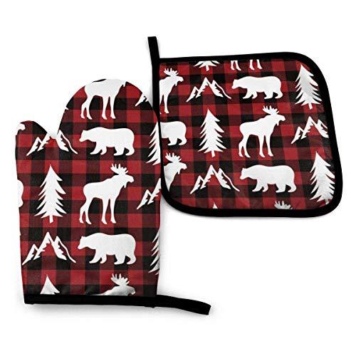 Guantes de Cocina y Juego de Mantel Individual Woodland Animals Red Black Buffalo Plaidcon Silicona Antideslizantes para Cocinar, Asar(Juego de 2 piezas)