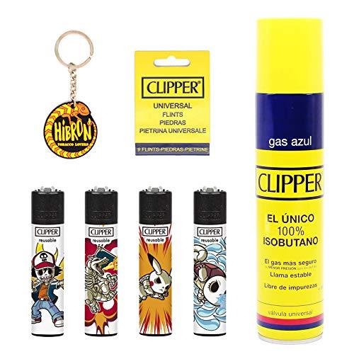 Clipper 4 Mecheros Encendedores Diversos Surtidos Bonitos Baratos,1 Carga Gas Encendedor Clipper 300 Ml,9uds De Piedra Clipper Y 1 Llavero Hibron Gratis 1-10003-12