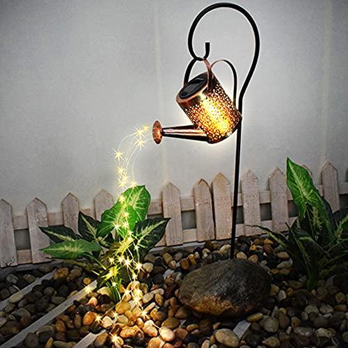 HCYY LED Cadena de Luces Impermeable, Cadena de Luces LED para regadera, Luces solares, Luces de Ducha en Forma de Estrella, para Decoraciones de césped y jardín (con Soporte)