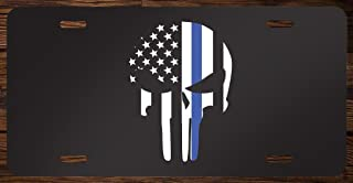 Thin Blue Line Punisher Skull Vanity Front License Plate Tag Printed Full Color KCFP033