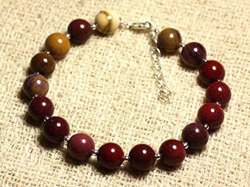 LOVEKUSH Beautiful AAA++ Quality Bracelet sterling silver and semi precious stone - Jasper mokaïte 8mm
