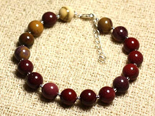 LOVEKUSH Beautiful AAA++ Quality Bracelet sterling silver and semi precious stone - Jasper mokaïte 8mm
