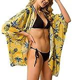 Camisola de Playa para Mujer Cardigan Corto Manga Media Pareos Cubrir Bikini Kimono Estampados de Flor Bikini Cover Up Protector Solar Traje de Baño de Playa para Chica (Flor 4, M)
